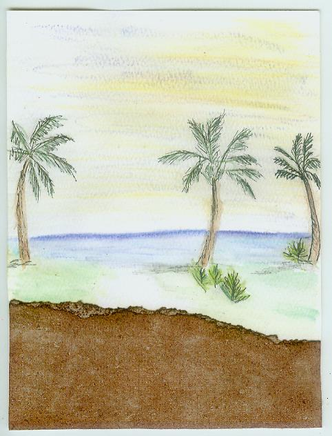 Palm trees beach painting