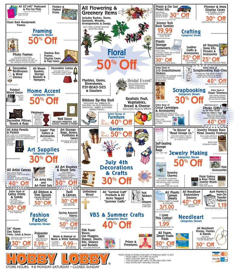 Hobby Lobby Sale Items through June 19