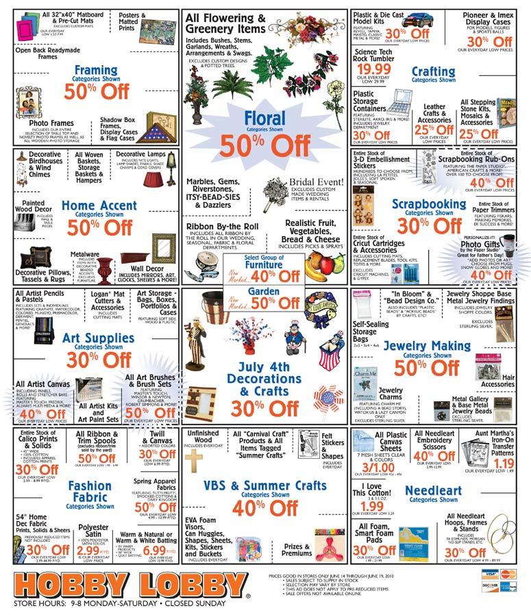 Hobby Lobby Sale Items through June 19