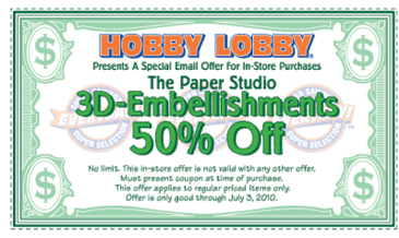 Hobby Lobby Coupon thru July 3