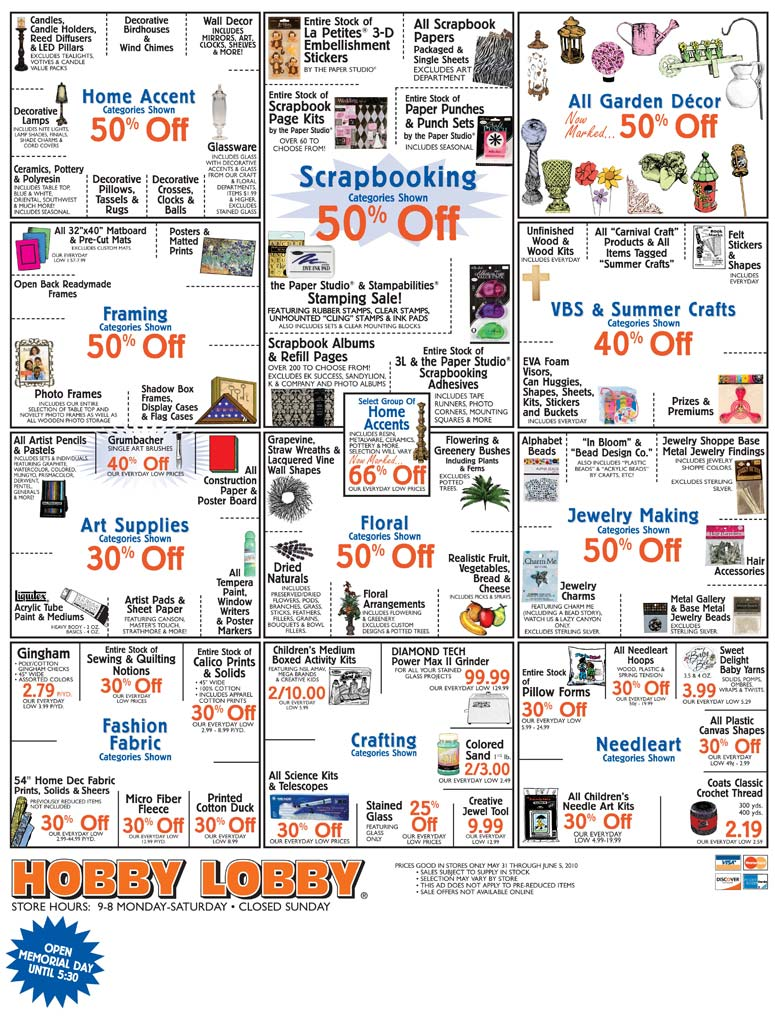 Hobby Lobby Sale Items Through June 5