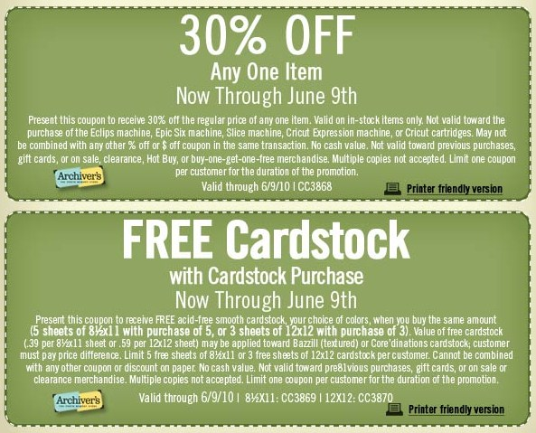 Archivers Coupons through June 9
