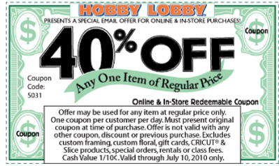 Hobby Lobby Coupon thru Jul 10
